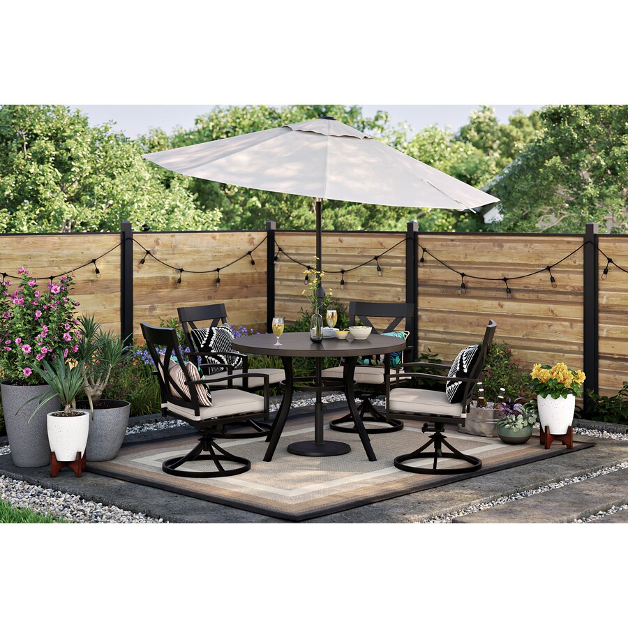 style selections glenwood 5 piece patio dining set with round table