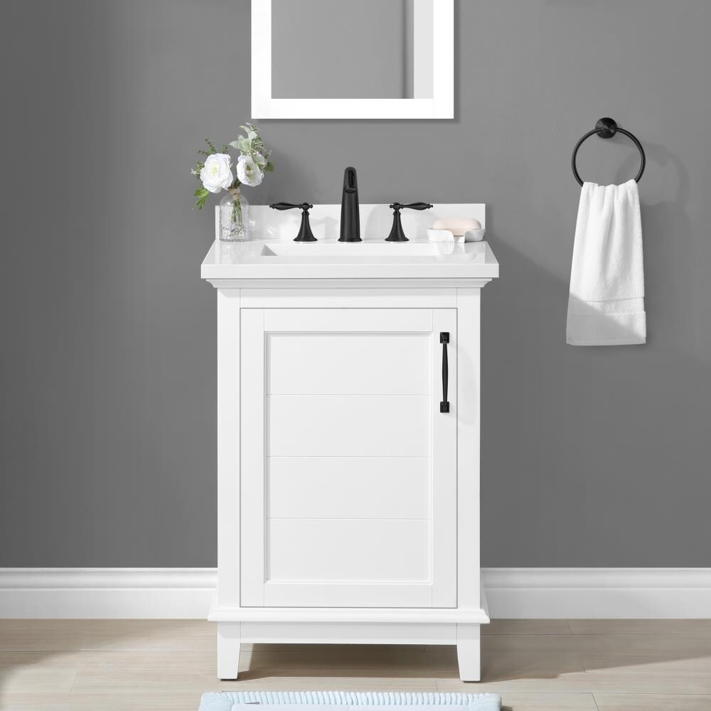 The bliss is one of the most elegant modern bathroom vanities around. Allen Roth Clarita 24 In White Undermount Single Sink Bathroom Vanity With White Engineered Stone Top In The Bathroom Vanities With Tops Department At Lowes Com