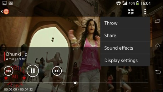 Movies option- Sony Xperia Z1
