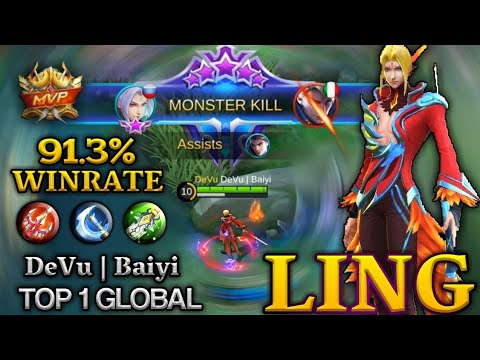 Ling 91.3% Winrate - Top 1 Global Ling by DeVu | Baiyi - Mobile Legends