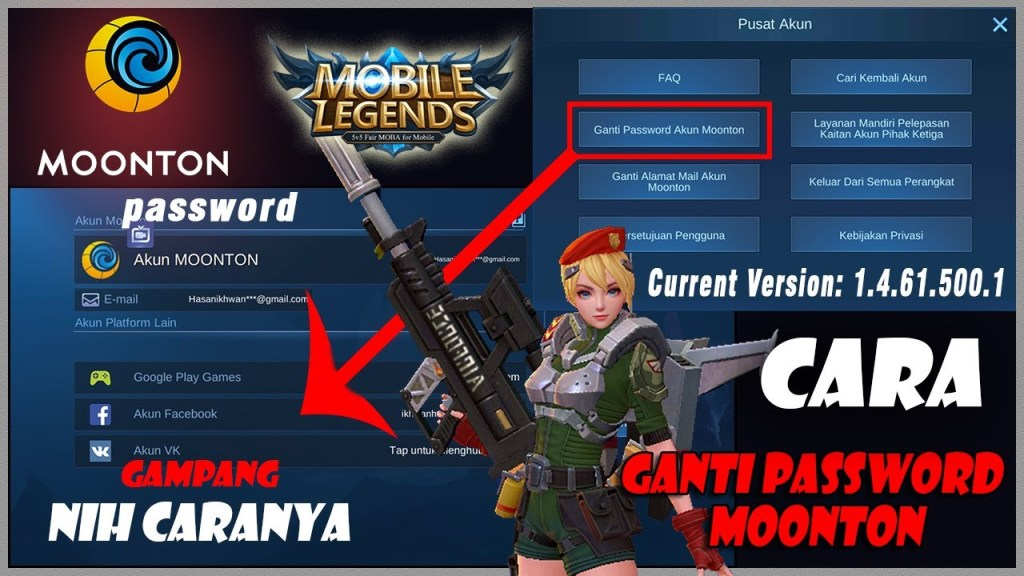 CARA GANTI PASSWORD AKUN MOONTON MOBILE LEGEND UPDATE 2020