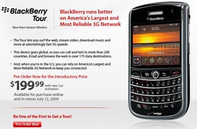 tourvzw  Alltel and Verizon Confirm BlackBerry Tour 9630