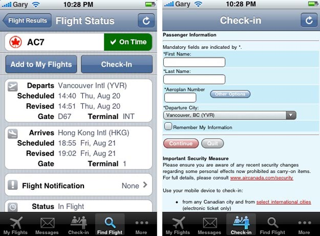 aircan Dedicated iPhone App Released by Air Canada