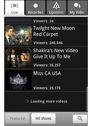 ustream  Use New Android App to View UStream Videos
