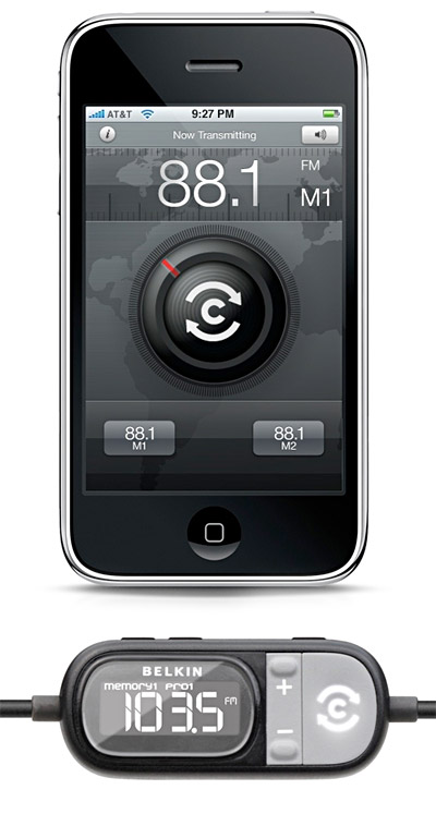 belkin-tunecast Belkin TuneCast FM transmitter for iPhone now shipping