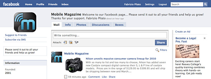 facebook-screencap Mobile Magazine on your Facebook Wall - Come join us now!