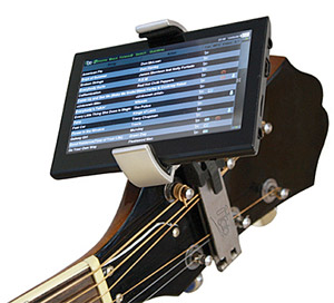 "itab i-tab portable digital guitar tab player clips to your guitar, has 5"" touchscreen LCD"