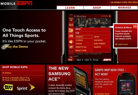mobile_espn_home_page_83006 Mobilizing sports content our main objective: ESPN360 now ESPN3