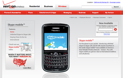 skype-mobile Verizon Wireless starts to offer Skype Mobile this week, no Wi-Fi support