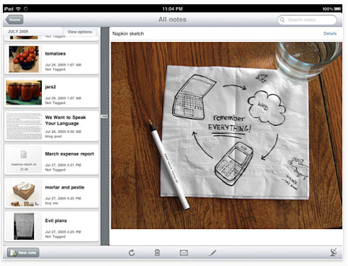 evernote Apple iPad stays productive with Evernote app too
