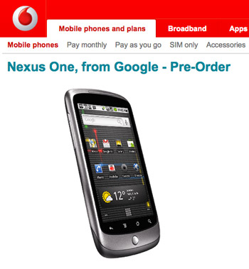 nexus-one-voda  Vodafone UK picks up Google Nexus One superphone