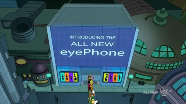 futurama-eyephone-1 Futurama pokes fun at Apple and obsessed gadget geeks