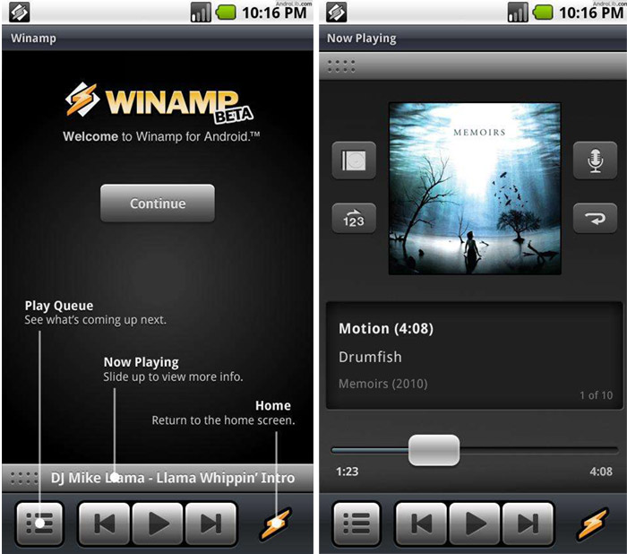winamp-android Winamp resurfaces as an Android app