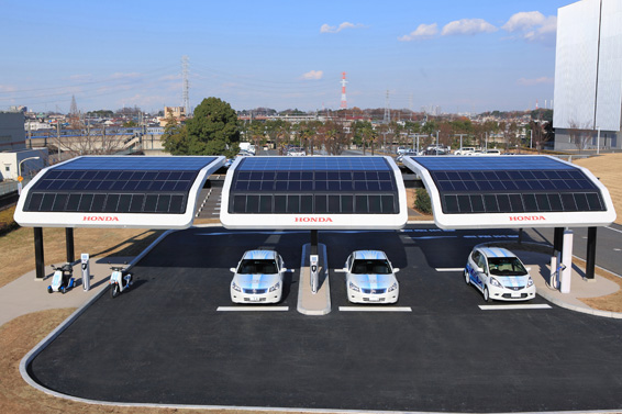 02 Honda tests solar-powered charging stations for electric vehicles