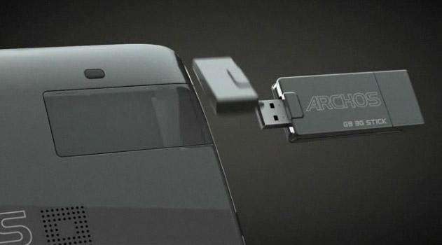archos-g9-3gstick Archos G9 Honeycomb tablets get dual-core 1.5GHz cpu, 250GB HDDs, 3G stick