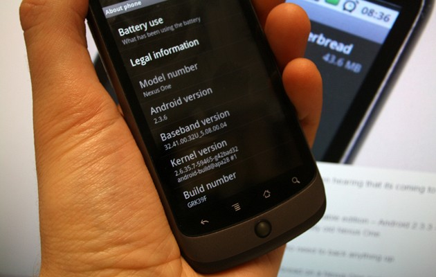 nexusone Unbranded Nexus One now getting Android Gingerbread 2.3.6