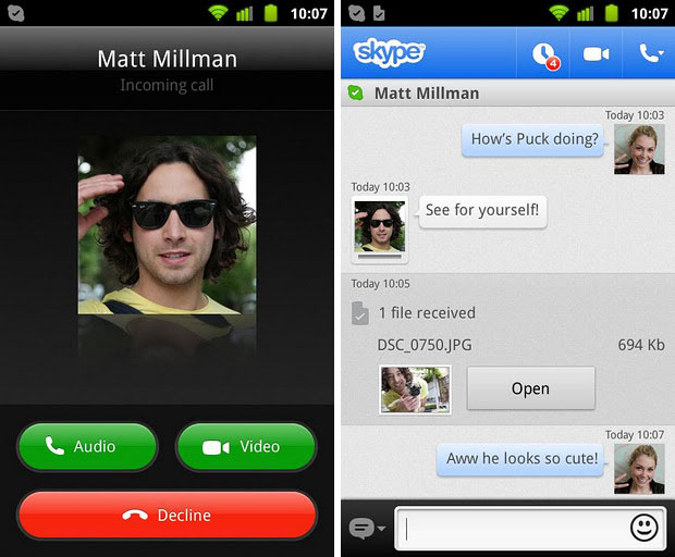 skype-android-2.6 Skype 2.6.0.75 For Android Adds Video Calling And More