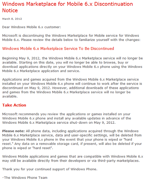 windows-mobile-marketplace-shutdown Microsoft Windows Mobile Marketplace To Be Shutdown On May 9