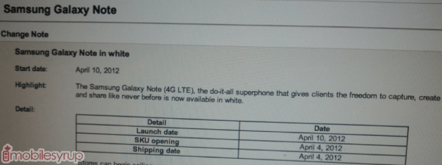 bell-galaxy-note-white White Samsung Galaxy Note To Be Launched On Telus Today, Bell On April 10th?