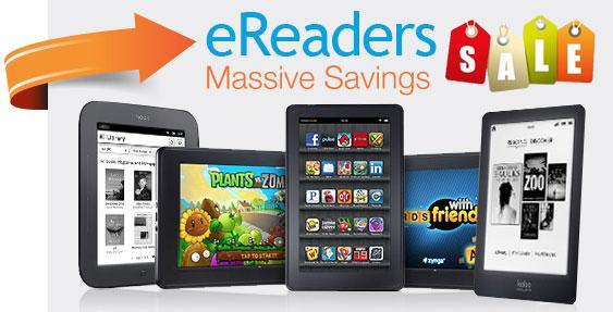ereader_sale eReader Shootout: Amazon Kindles vs. Barnes & Noble Nooks vs. Kobo Glo