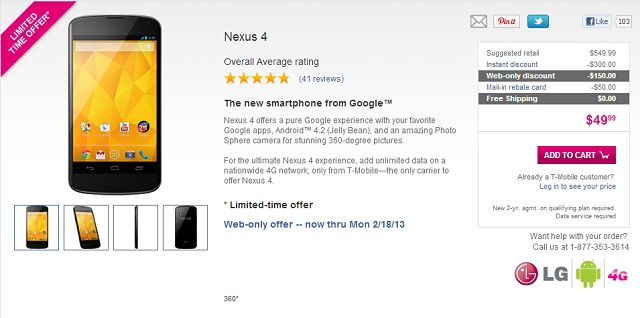 nexus-tmob-deal LG Nexus 4 Just $50 From T-Mobile with Two Year Contract