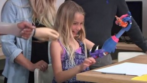 "3d2-300x169 This Cute 7 Year Old Girl Gets A 3D Printed ""RoboHand"" (VIDEO)"