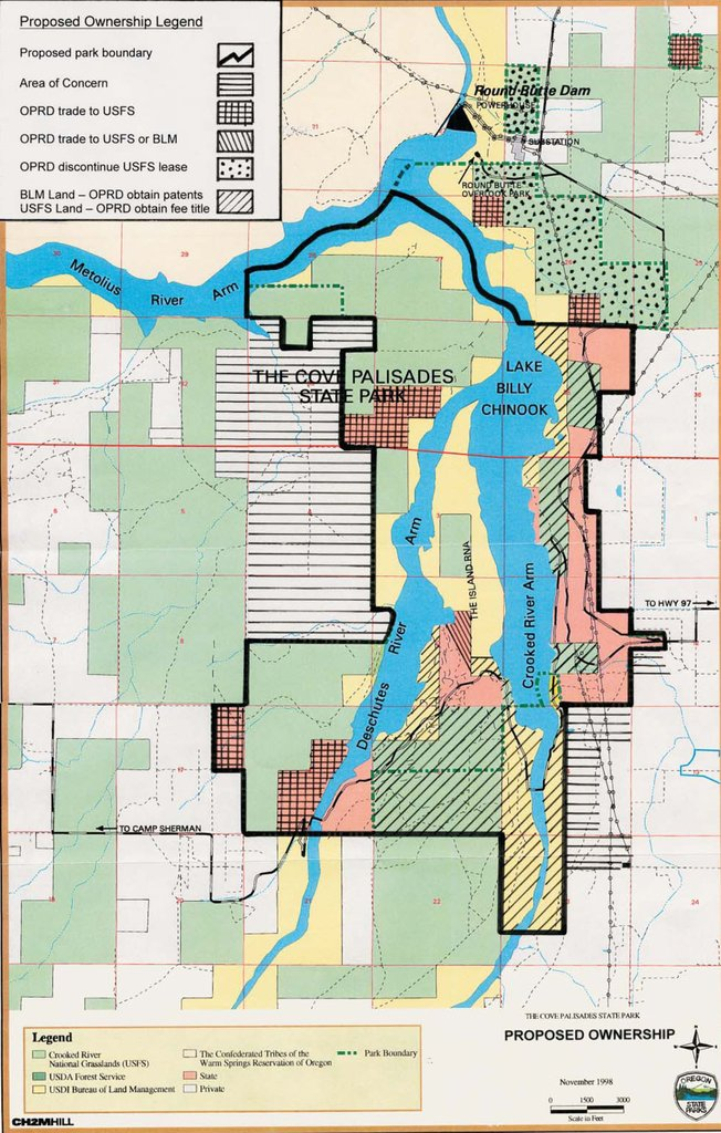Lake Billy Chinook Map : billy, chinook, Palisades, State, Maplets
