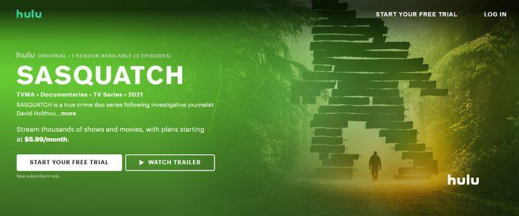 Hulu desktop landing page