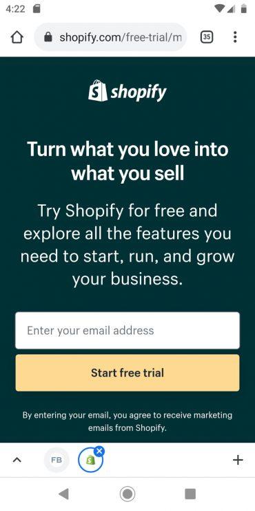 Shopify's desktop landing page