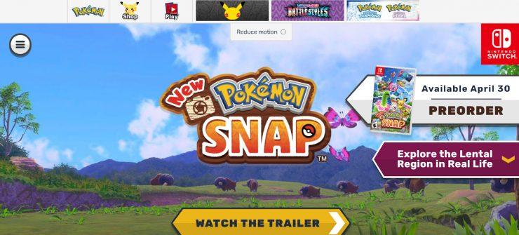 Nintendo Switch's New Pokemon Snap desktop landing page