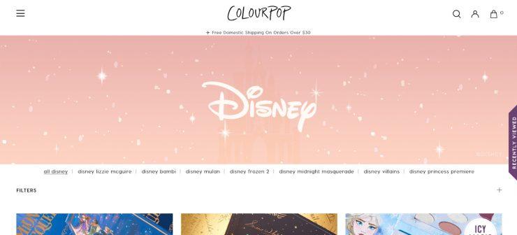 ColourPop's desktop landing page