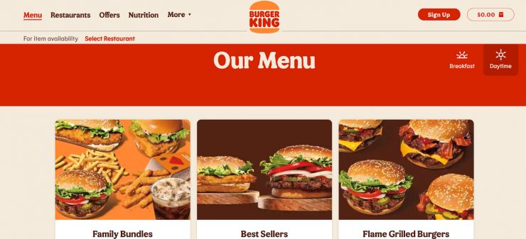 Burger King's desktop landing page