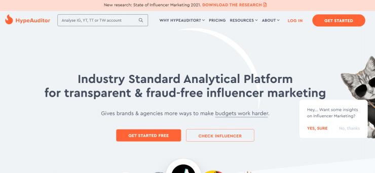 HypeAuditor homepage screenshot