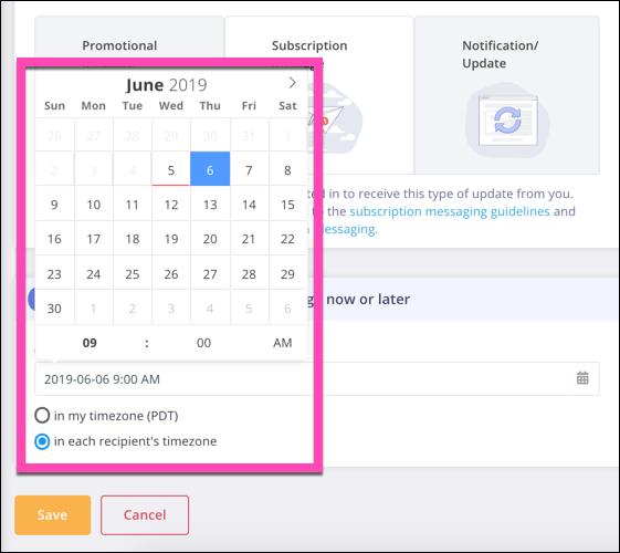 Alt. MobileMonkey's Chat Blaster scheduling tool.