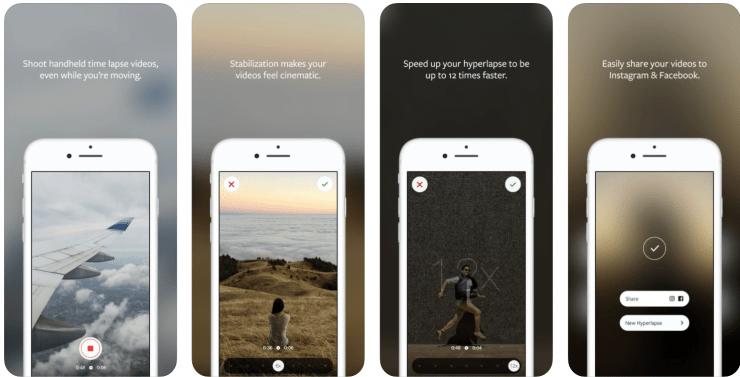 Hyperlapse app screenshots.