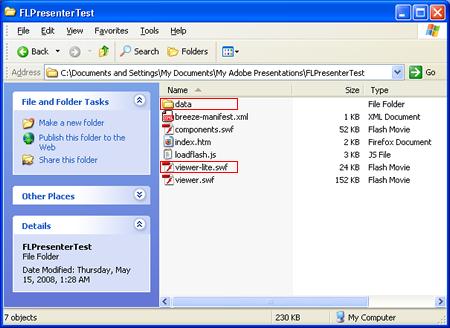 Adobe Presenter Publish Folder