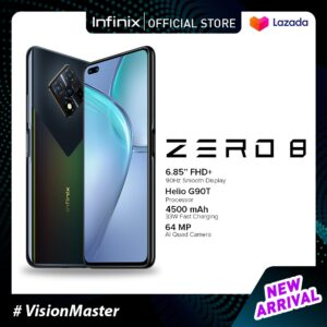 Infinix Zero 8 - 8GB RAM + 128GB memory, 6.85FHD+ 90Hz super screen, 64MP Ultra Night Camera, G90T power game engine, 33W super charge, 48MP AI selfie camera
