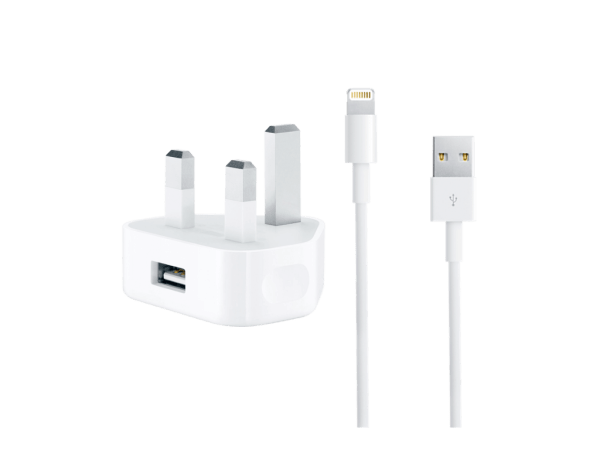 Genuine Apple Mains Charger & Lightning Cable Bundle