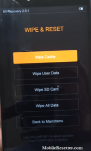 mi note 2 wipe all data - hard reset