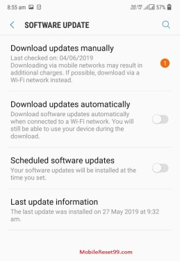 Samsung Software update in settings