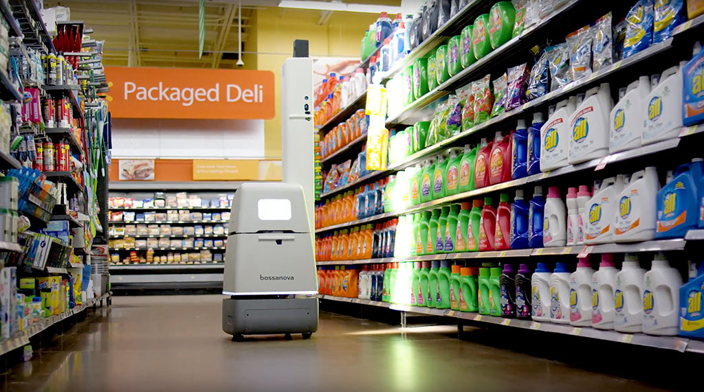 Robot Bossa Nova en pasillo de comestibles