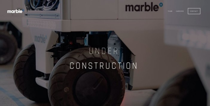 "Marble website screenshot saying ""under construction"""