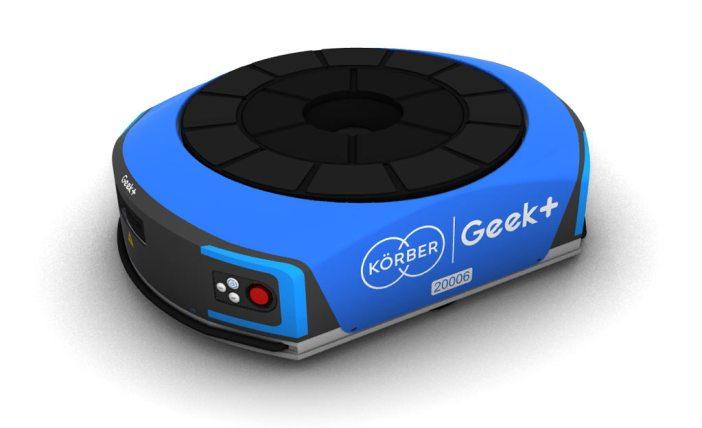 Geek+ robot with both Geek+ and Korber logos on it