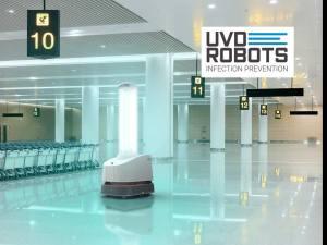 UVD Robotics robot disinfecting an airport