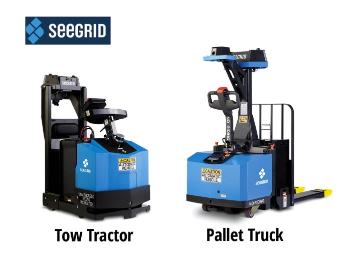 Seegrid tow tractor and pallet truck images
