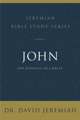 Black Bible Study book cover stating John, The Divinity of Christ in white letters with gold colored trim at top and bottom of book.