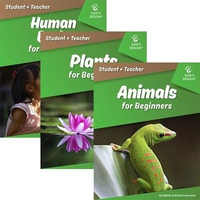 Picture of 3 green manuals presenting God's Design for Science for beginners in which includes 1) Human, 2) Plants, and 3) Animals.