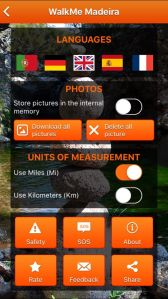 Sets of the app. Languages, photos, units of measurement.