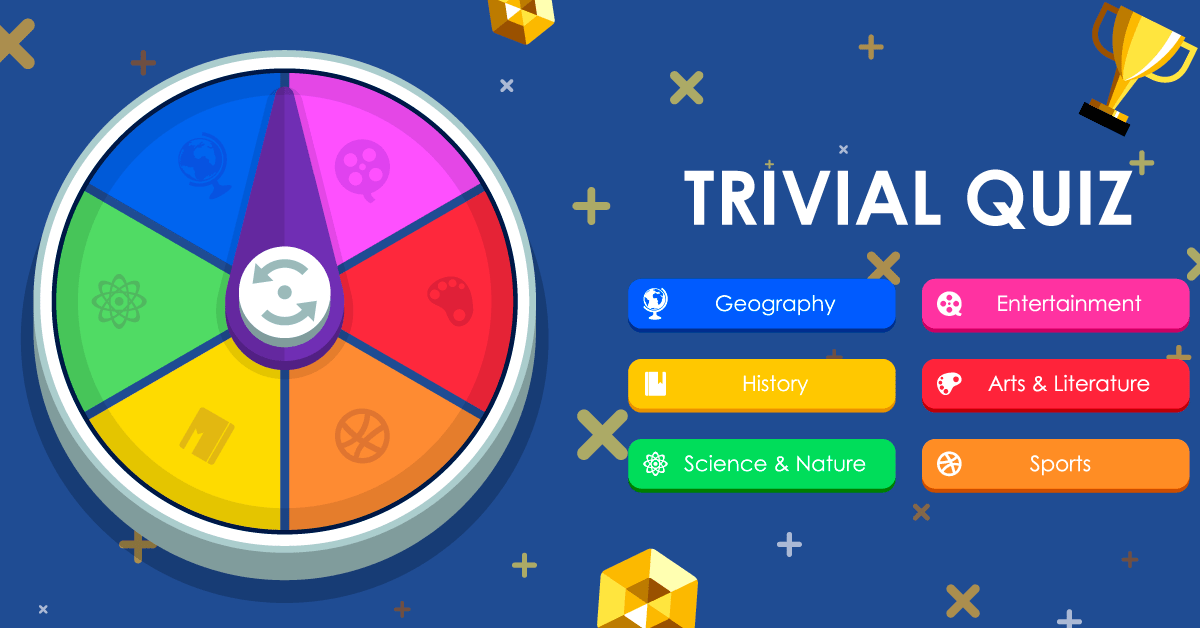 Trivial Quiz cover with categories in a wheel on the left and in buttons on the right