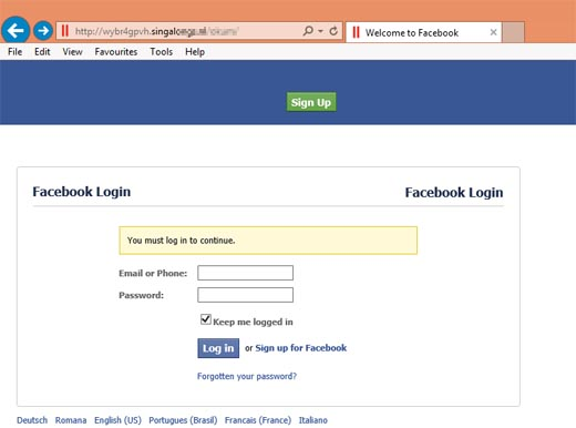 Facebook Page Phishing